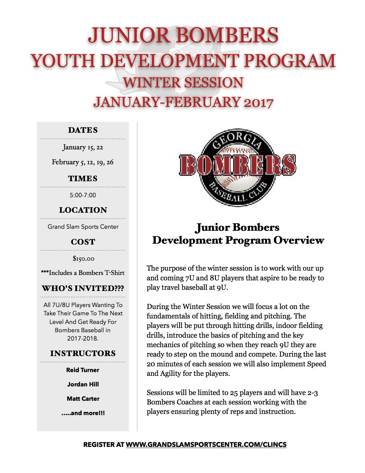 Junior Bombers Youth Development Program….Coming In January!!!