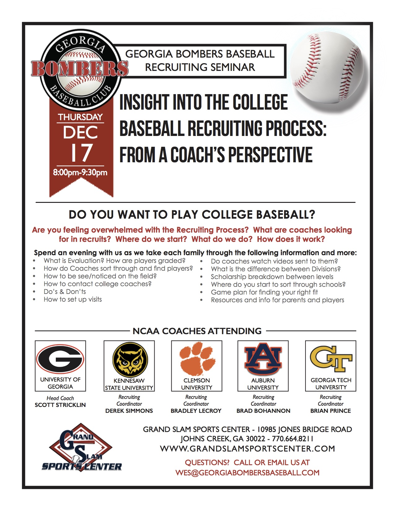 Georgia Bombers College Recruiting Seminar – December 17th