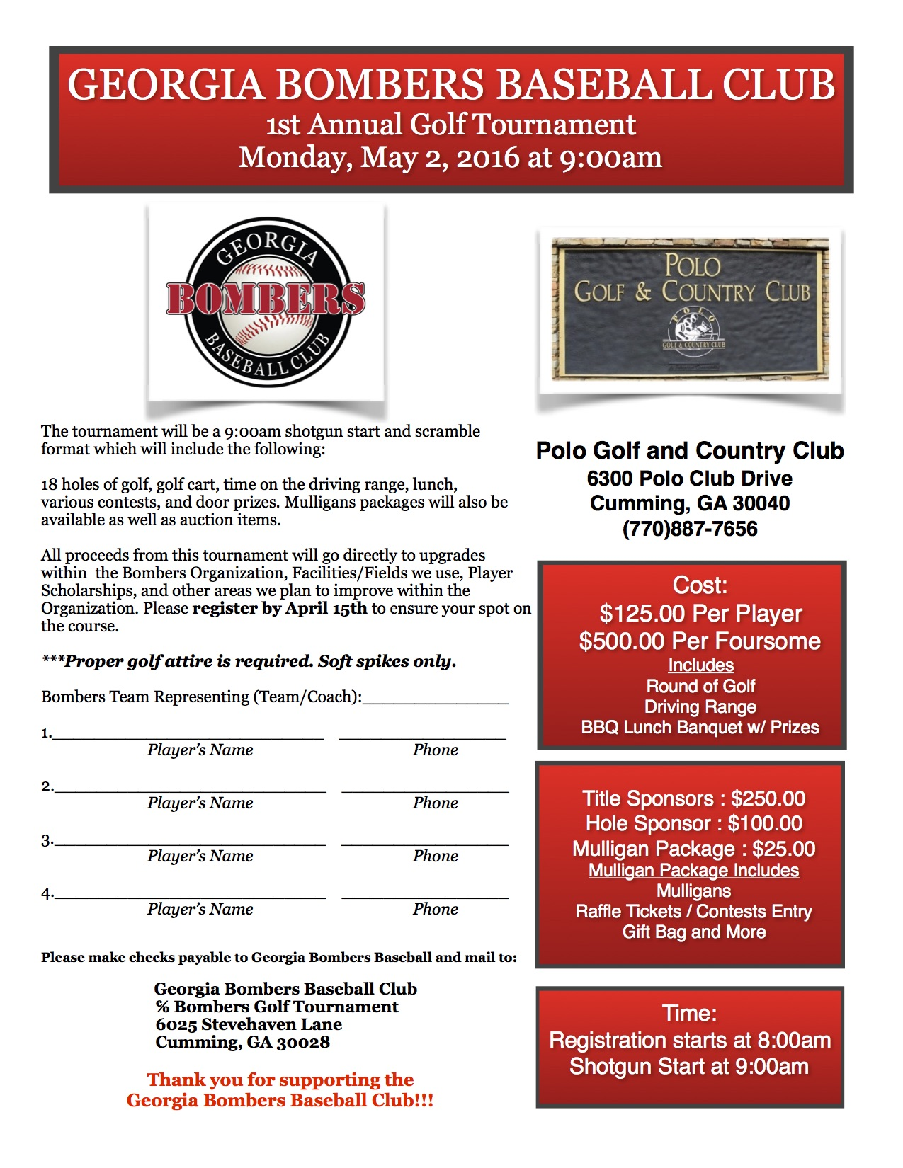 Bombers 1st Annual Golf Tournament