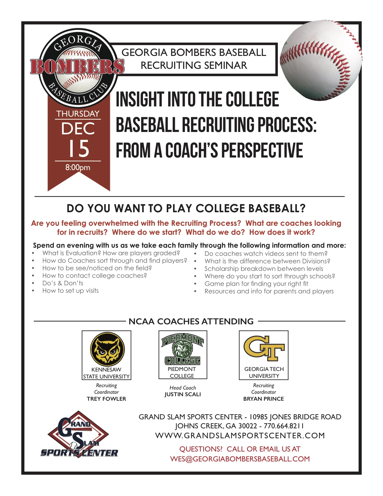 Bombers 2017 Recruiting Seminar Flyer